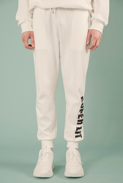 'SUPERLIT' basic pants white