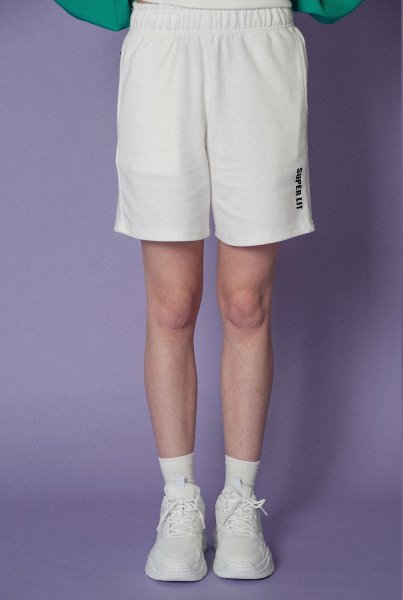 'SUPERLIT' basic shorts white