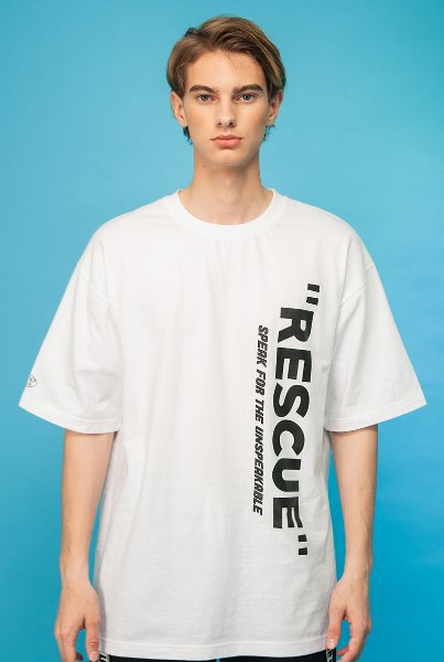 'RESCUE' front logo T-shirts 화이트