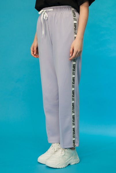 'SUPERLIT' logo tape pants 라벤더