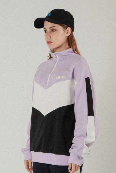 color blocking anorak lavender