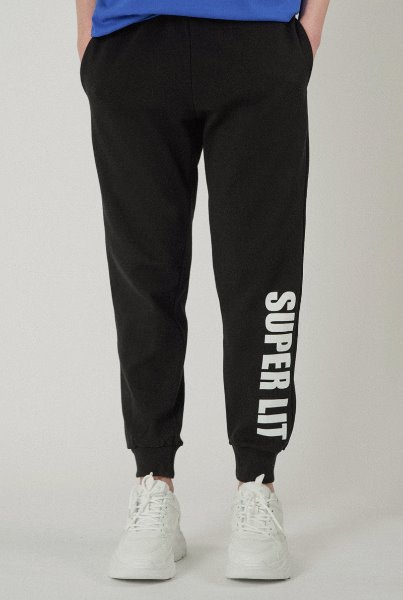 [기모추가]'SUPERLIT' basic pants black