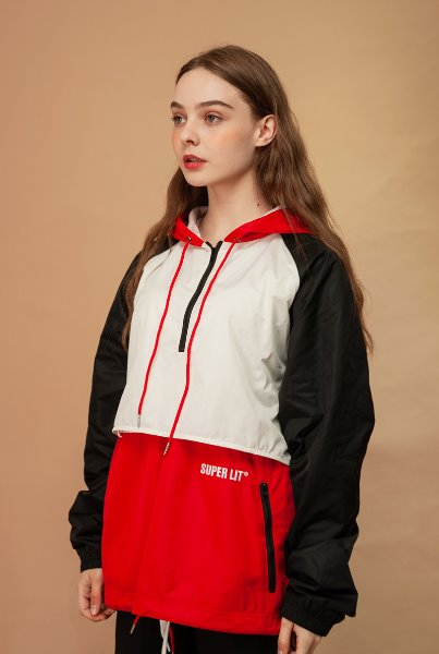 'SUPERLIT' color blocking anorak red
